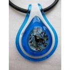 Frumeri Original! Fused Glass Pendant  with IG! In Shades of Blue [sf] 54612