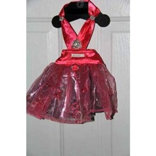 Dress - Bright Pink and Silver Dress with Rhinestone Pin  size Medium [cm] 13418 Dress