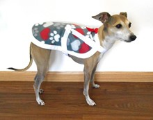 Cozy Fleece Hearts 'n Paws IG Lounge Coat in TWO Sizes - This one is Size Med/Lrg - 11-15 lb [jl] 53013 Med Lrg