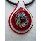 Frumeri Original! Fused Glass Pendant  with IG! In Red and White [sf] 546013