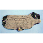 Small Breed Sweaters - Hand Crocheted - Beige & Eggplant - Small [cm] 11021B