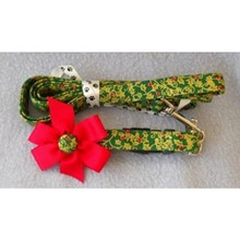 Christmas Red Bow & Holly Collar & Leash Set   [cm] 12067C