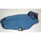 Small Breed Sweaters - Hand Crocheted - Slate Blue and Multi Small [cm] 11021C