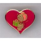 Christmas Mouse in Heart Lapel Pin  [kd] 54062