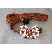 Fancy Christmas Collar & Leash Holly & Reindeer   [cm] 12067B