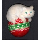 Christmas Cat Resting on Ornament Pin  [kd]